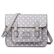 LT1665D2 MISS LULU  PU LEATHER LARGE  CAMBRIDGE STLYE SATCHEL BAG POLKA DOT GREY