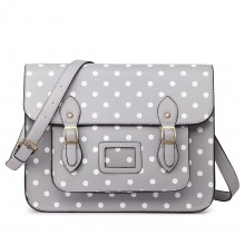 LT1665D2 - Miss Lulu Polka Dot Leather Look School Work Satchel Grey