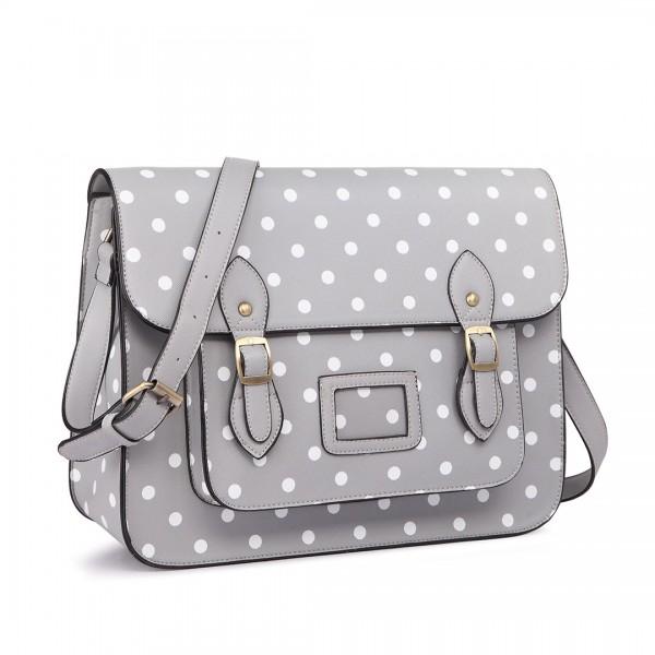 LT1665D2 - Miss Lulu Polka Dot Leather Look School Work Satchel Grey