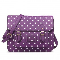 LT1665D2 MISS LULU  PU LEATHER LARGE  CAMBRIDGE STLYE SATCHEL BAG POLKA DOT PURPLE