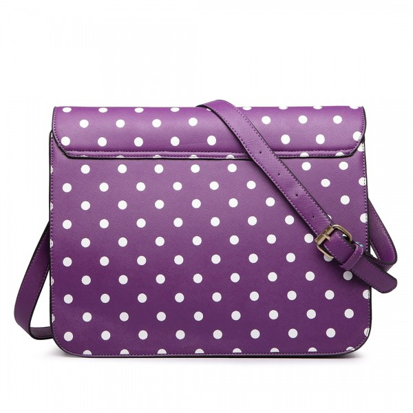 LT1665D2 - Miss Lulu Polka Dot Leather Look School Work Satchel Purple