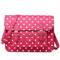 LT1665D2 MISS LULU  PU LEATHER LARGE  CAMBRIDGE STLYE SATCHEL BAG POLKA DOT PINK