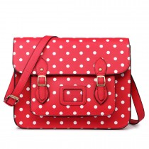 LT1665D2 MISS LULU  PU LEATHER LARGE  CAMBRIDGE STLYE SATCHEL BAG POLKA DOT RED