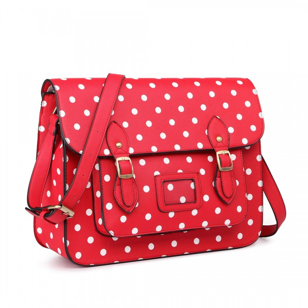 LT1665D2 - Miss Lulu Polka Dot Leather Look School Work Satchel Red