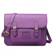LT1665-MISS LULU  PU LEATHER LARGE  CAMBRIDGE STLYE SATCHEL BAG PURPLE
