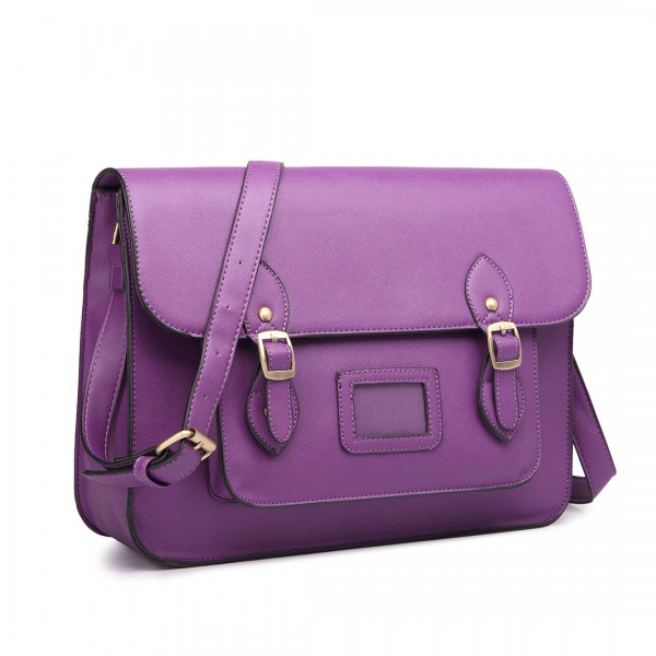 LT1665 - Miss Lulu Plain Leather Look School Work Satchel Purple