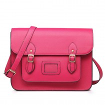 LT1665-MISS LULU  PU LEATHER LARGE  CAMBRIDGE STLYE SATCHEL BAG PINK