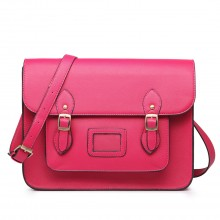 LT1665 - Miss Lulu Plain Leather Look School Work Satchel Pink