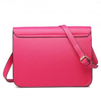 LT1665 - Miss Lulu Plain Leather Look School Work Satchel Pink