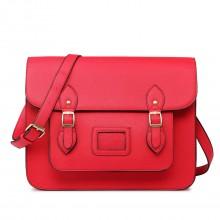 LT1665 - Miss Lulu Plain Leather Look School Work Satchel Red