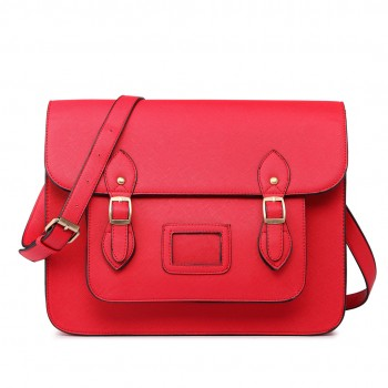 LT1665 - Miss Lulu Plain Leather Look School Work Satchel Red