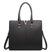 LT1666- MISS LULU Split Front Design Medium Tote Handbag BLACK
