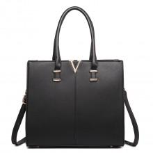LT1666 -Miss Lulu Split Front Design Medium Tote Handbag Black