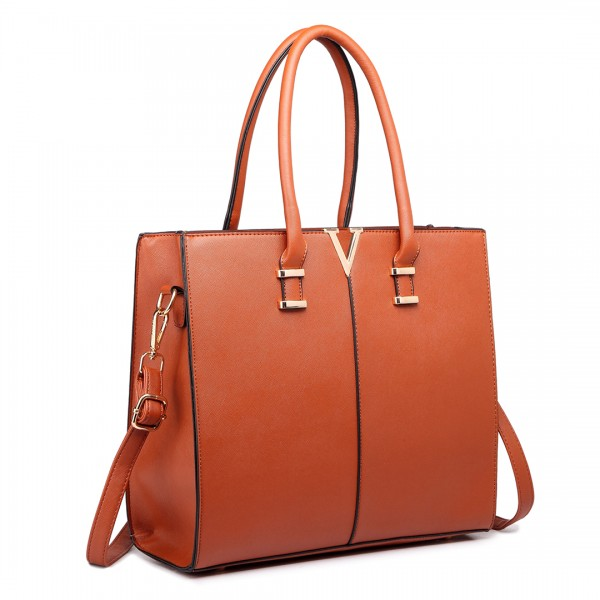 LT1666 - Miss Lulu Split Front Design Medium Tote Handbag Brown