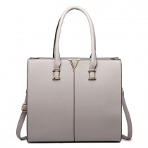 LT1666- MISS LULU Split Front Design Medium Tote Handbag GREY