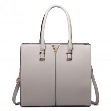 LT1666-Miss Lulu Split Front Design Medium Tote Handbag Grey
