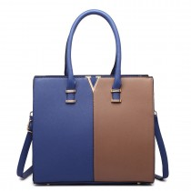 LT1666- MISS LULU Split Front Design Medium Tote Handbag NAVY AND BROWN