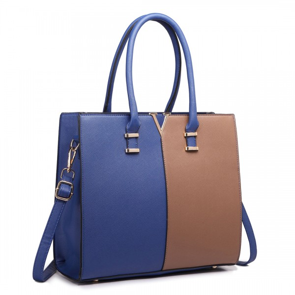 LT1666 - Miss Lulu Split Front Design Medium Tote Handbag Navy and Brown