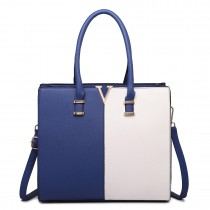LT1666- MISS LULU Split Front Design Medium Tote Handbag NAVY AND WHITE