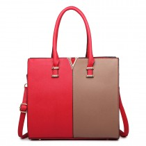 LT1666- MISS LULU Split Front Design Medium Tote Handbag RED AND BROWN