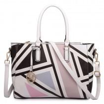 LT1667 - Miss Lulu Geometric Digital Print Leather Look Shoulder Bag Black
