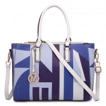 LT1667 - Miss Lulu Geometric Digital Print Leather Look Shoulder Bag Blue