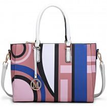 LT1667 - Miss Lulu Geometric Digital Print Leather Look Shoulder Bag Pink