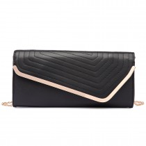 LT1674-MISS LULU Fuax Leather Quilted Envelope Clutch bag BLACK