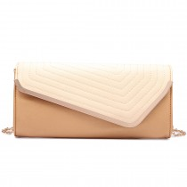 LT1674-MISS LULU Fuax Leather Quilted Envelope Clutch bag GOLD AND NUDE