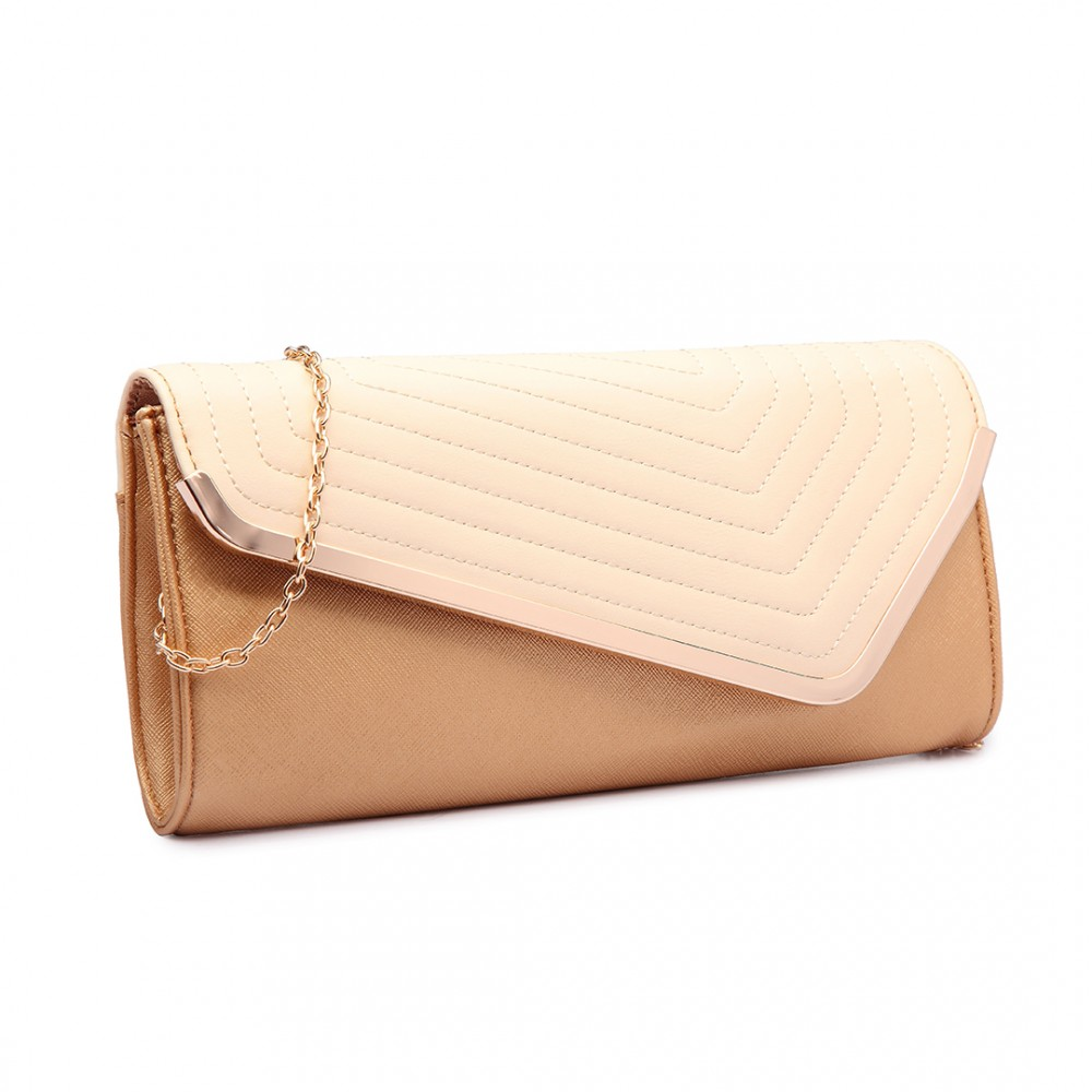 84d9ef996c1ee LT1674 - Miss Lulu Quilted Leather Look Envelope Clutch Bag Gold and Nude