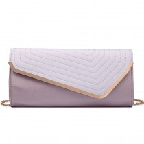 LT1674-MISS LULU Fuax Leather Quilted Envelope Clutch bag PURPLE AND LILAC