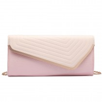 LT1674-MISS LULU Fuax Leather Quilted Envelope Clutch bag PINK and Light Pink