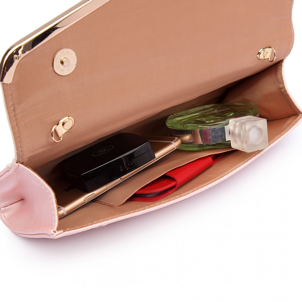 2c72e243a7a89 LT1674 - Miss Lulu Quilted Leather Look Envelope Clutch Bag Pink and Light  Pink