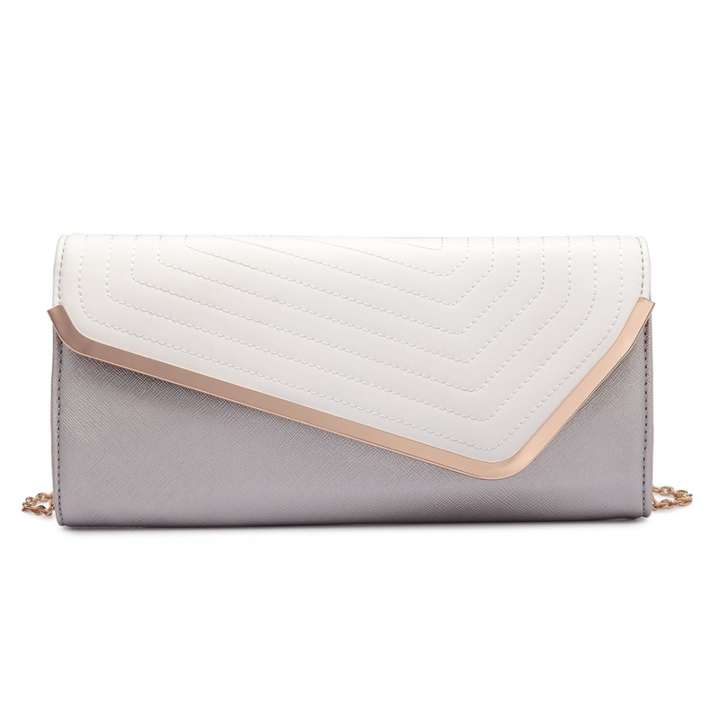 2dc6650da277b LT1674 - Miss Lulu Quilted Leather Look Envelope Clutch Bag Silver and White