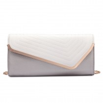 LT1674-MISS LULU Fuax Leather Quilted Envelope Clutch bag SILVERY AND WHITE