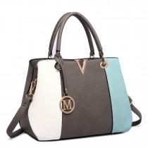 LT1701 - Miss Lulu Colour Block Panel Shoulder Bag Blue