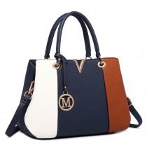 LT1701 - Miss Lulu Colour Block Panel Shoulder Bag Brown