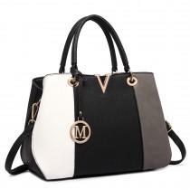 LT1701 - Miss Lulu Colour Block Panel Shoulder Bag Grey