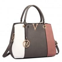 LT1701 - Miss Lulu Colour Block Panel Shoulder Bag Pink