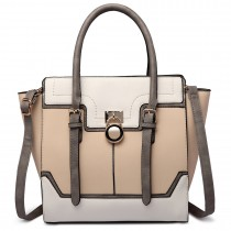 LT1702 - Miss Lulu Tricolour Padlock Winged Shoulder Bag Beige