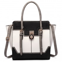 LT1702 - Miss Lulu Tricolour Padlock Winged Shoulder Bag Black