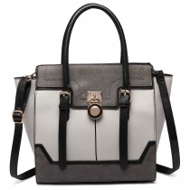 LT1702 - Miss Lulu Tricolour Padlock Winged Shoulder Bag Grey