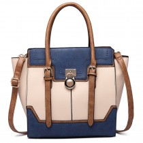 LT1702 - Miss Lulu Tricolour Padlock Winged Shoulder Bag Navy