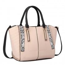 LT1703 - Miss Lulu Snake Skin Stripe Panel Shoulder Bag Beige