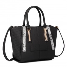 LT1703 - Miss Lulu Snake Skin Stripe Panel Shoulder Bag Black