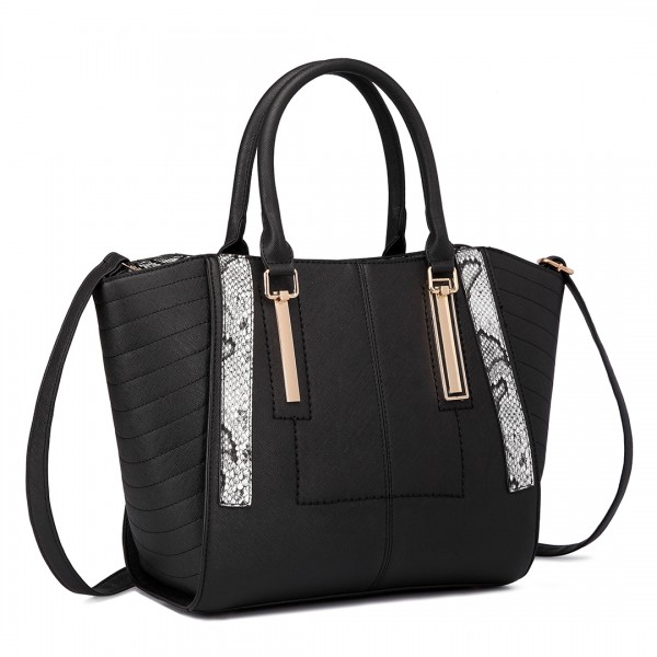 LT1703 - Miss Lulu Snake Skin Stripe Panel Shoulder Bag Black