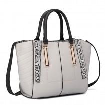 LT1703 - Miss Lulu Snake Skin Stripe Panel Shoulder Bag Grey