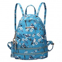 LT1704 - Miss Lulu Matte Oilcloth Small Fashion Bird Print Backpack Blue