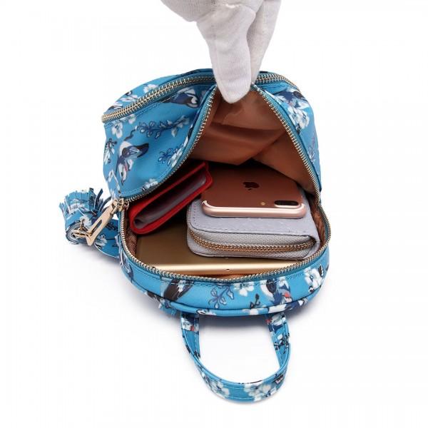 LT1704 - Miss Lulu Matte Oilcloth Small Fashion Bird Print Backpack Blue