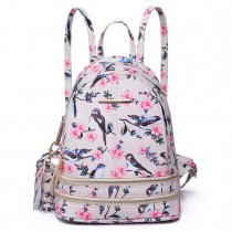 LT1704 - Miss Lulu Matte Oilcloth Small Fashion Bird Print Backpack Beige
